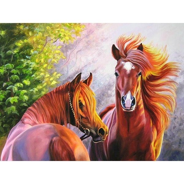 Diamond Painting - Diamond-painting-op-canvas-horses