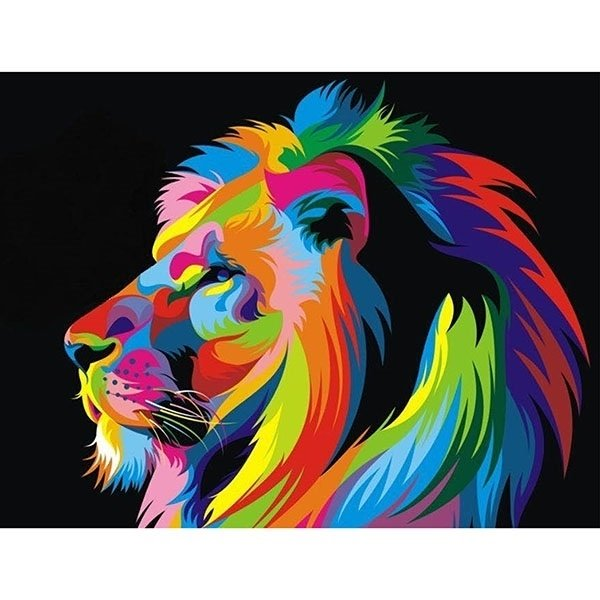 Diamond Painting - Diamond-painting-op-canvas-lion