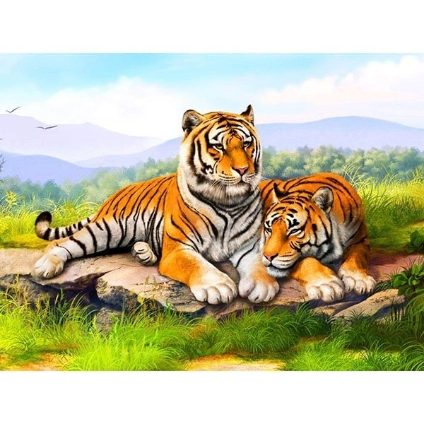 Diamond Painting - Diamond-painting-op-canvas-tijger